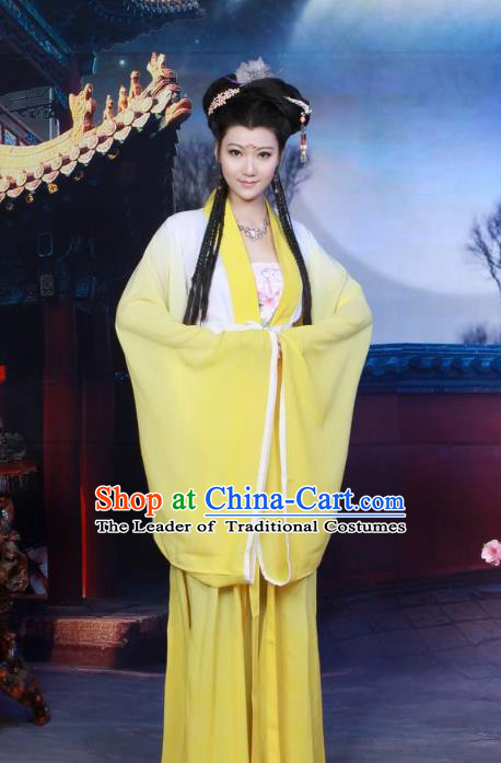 Traditional Chinese Tang Dynasty Imperial Princess Costume, Elegant Hanfu Clothing Chinese Ancient Palace Lady Fairy Yellow Dress Clothing