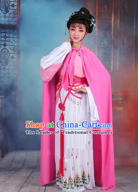 Traditional China Beijing Opera Young Lady Hua Tan Costume Romance of the Western Chamber Embroidered Dress and Pink Cloak, Ancient Chinese Peking Opera Diva Embroidery Clothing