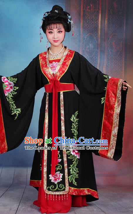 Traditional China Beijing Opera Young Lady Hua Tan Costume Black Embroidered Dress, Ancient Chinese Peking Opera Diva Senior Concubine Embroidery Peony Clothing