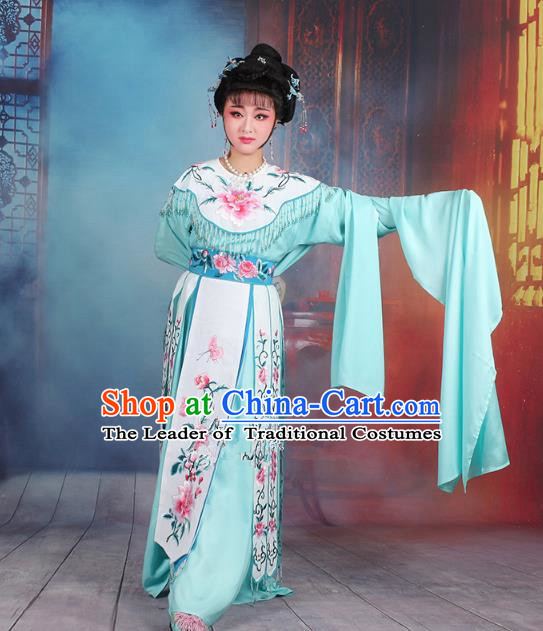 Traditional China Beijing Opera Palace Lady Hua Tan Costume Water Sleeve Embroidered Dress, Ancient Chinese Peking Opera Diva Senior Concubine Embroidery Blue Clothing