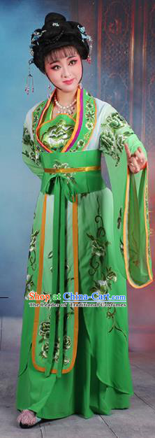Traditional China Beijing Opera Palace Lady Hua Tan Costume Green Embroidered Dress, Ancient Chinese Peking Opera Diva Princess Embroidery Clothing