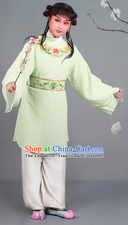 Traditional China Beijing Opera Livehand Costume Scholar Embroidered Green Robe, Ancient Chinese Peking Opera Book Boy Embroidery Clothing