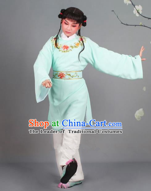 Traditional China Beijing Opera Livehand Costume Scholar Embroidered Blue Robe, Ancient Chinese Peking Opera Book Boy Embroidery Clothing