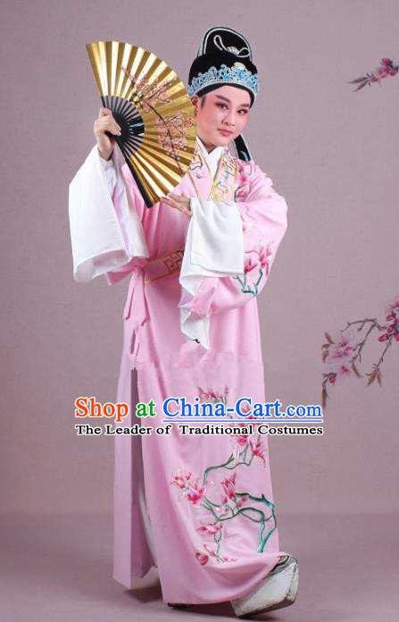 Traditional China Beijing Opera Niche Costume Gifted Scholar Pink Embroidered Robe and Hat, Ancient Chinese Peking Opera Young Men Embroidery Mangnolia Clothing