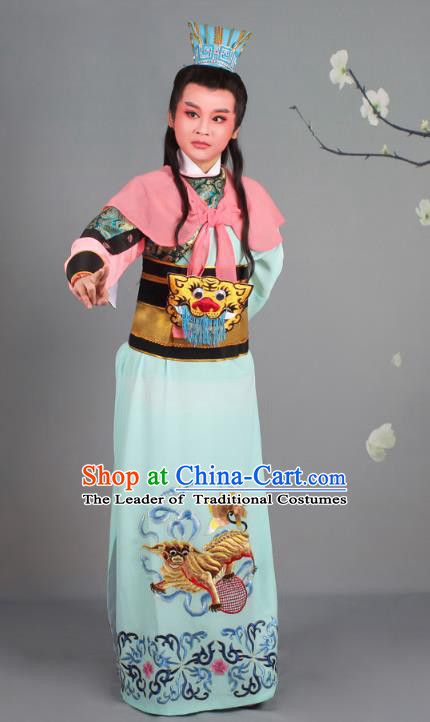 Traditional China Beijing Opera Niche Costume Gifted Scholar General Embroidered Robe and Hat, Ancient Chinese Peking Opera Young Men Embroidery Clothing