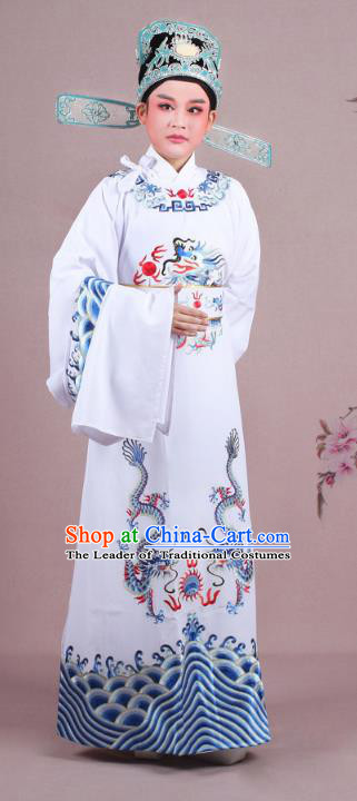 Traditional China Beijing Opera Niche Costume Lang Scholar White Embroidered Robe and Hat, Ancient Chinese Peking Opera Magistrate Embroidery Dragons Gwanbok Clothing
