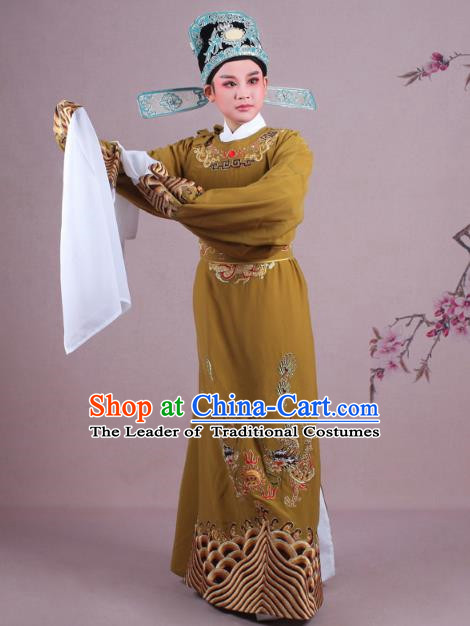 Traditional China Beijing Opera Niche Costume Lang Scholar Ginger Embroidered Robe and Hat, Ancient Chinese Peking Opera Magistrate Embroidery Dragons Gwanbok Clothing