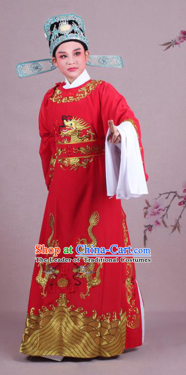 Traditional China Beijing Opera Niche Costume Lang Scholar Red Embroidered Robe and Hat, Ancient Chinese Peking Opera Emperor Son-in-law Embroidery Gwanbok Clothing