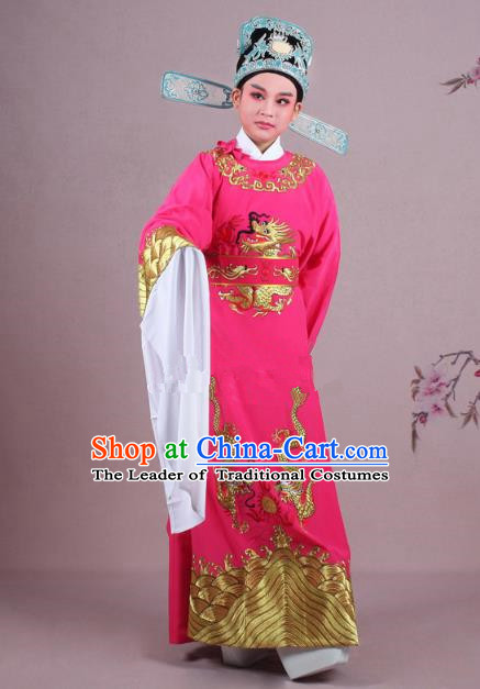 Traditional China Beijing Opera Niche Costume Lang Scholar Rosy Embroidered Robe and Hat, Ancient Chinese Peking Opera Emperor Son-in-law Embroidery Gwanbok Clothing