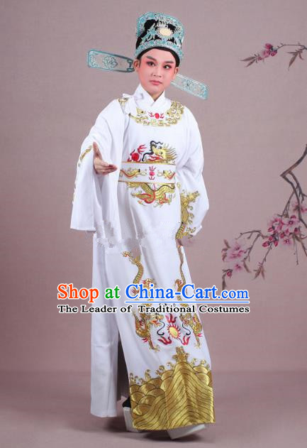 Traditional China Beijing Opera Niche Costume Lang Scholar White Embroidered Robe and Hat, Ancient Chinese Peking Opera Emperor Son-in-law Embroidery Gwanbok Clothing