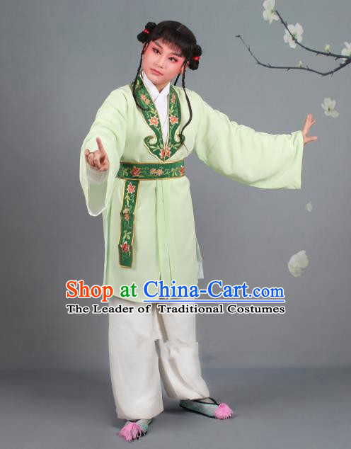 Traditional China Beijing Opera Costume Scholar Embroidered Green Clothing, Ancient Chinese Peking Opera Boy Book Embroidery Clothing