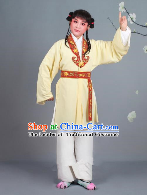 Traditional China Beijing Opera Costume Scholar Embroidered Yellow Clothing, Ancient Chinese Peking Opera Boy Book Embroidery Clothing