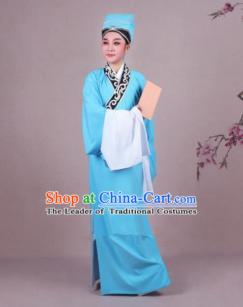 Traditional China Beijing Opera Niche Costume Scholar Embroidered Blue Robe and Headwear, Ancient Chinese Peking Opera Young Men Clothing