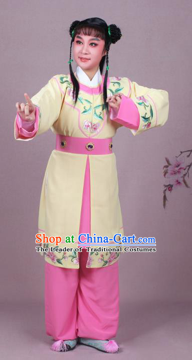 Traditional China Beijing Opera Boy Book Costume Scholar Embroidered Yellow Robe, Ancient Chinese Peking Opera Livehand Clothing