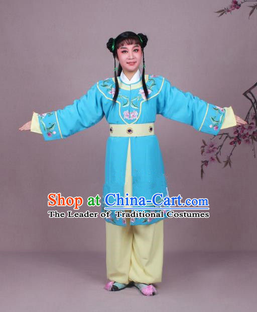 Traditional China Beijing Opera Boy Book Costume Scholar Embroidered Blue Robe, Ancient Chinese Peking Opera Livehand Clothing