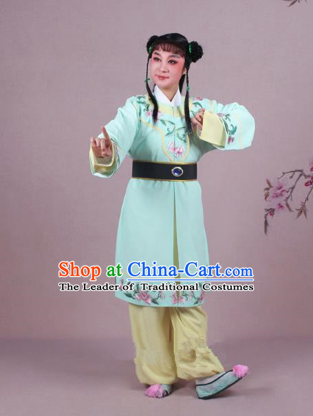 Traditional China Beijing Opera Boy Book Costume Scholar Embroidered Green Robe, Ancient Chinese Peking Opera Livehand Clothing