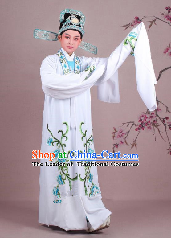 Traditional China Beijing Opera Niche Costume Gifted Scholar White Embroidered Cape and Hat, Ancient Chinese Peking Opera Young Men Embroidery Peony Clothing