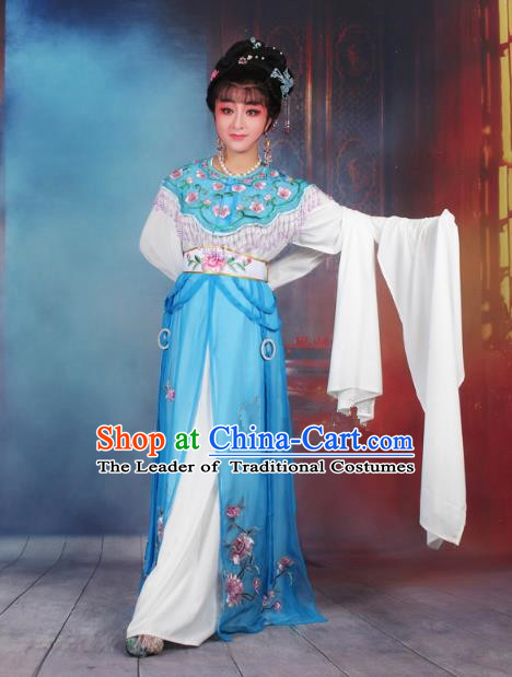 Traditional China Beijing Opera Young Lady Hua Tan Costume Blue Embroidered Dress, Ancient Chinese Peking Opera Diva Senior Concubine Embroidery Peony Clothing