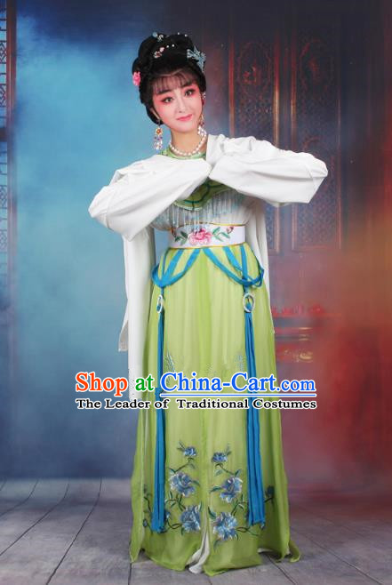 Traditional China Beijing Opera Young Lady Hua Tan Costume Green Embroidered Dress, Ancient Chinese Peking Opera Diva Senior Concubine Embroidery Peony Clothing
