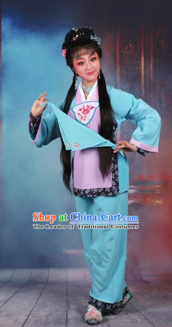 Traditional China Beijing Opera Young Lady Hua Tan Costume Servant Girl Blue Embroidered Dress, Ancient Chinese Peking Opera Diva Maidservants Embroidery Clothing