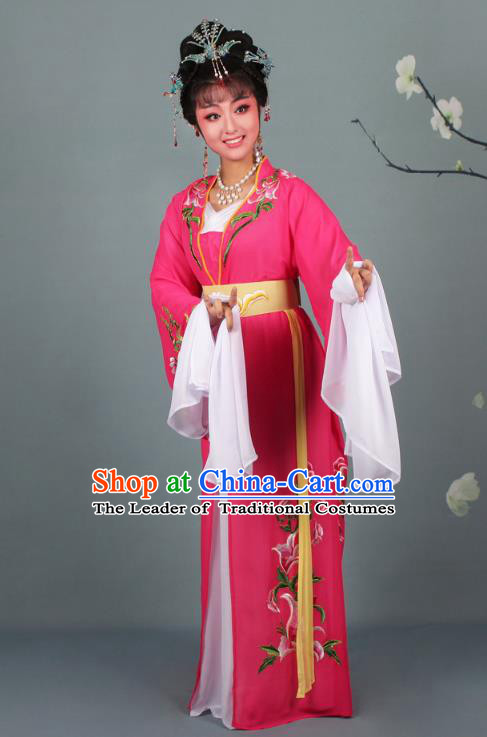Traditional China Beijing Opera Young Lady Hua Tan Costume Princess Rosy Embroidered Dress, Ancient Chinese Peking Opera Diva Embroidery Clothing