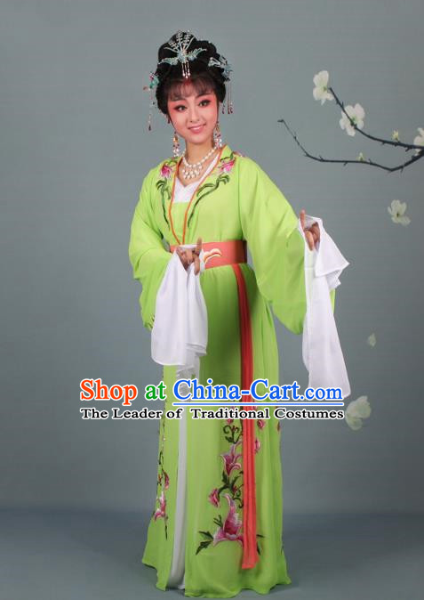 Traditional China Beijing Opera Young Lady Hua Tan Costume Princess Green Embroidered Dress, Ancient Chinese Peking Opera Diva Embroidery Clothing