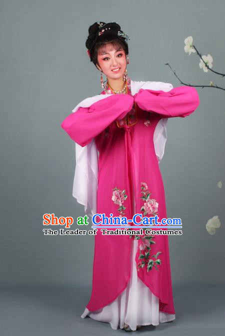Traditional China Beijing Opera Young Lady Hua Tan Costume Princess Rosy Embroidered Cape, Ancient Chinese Peking Opera Diva Embroidery Dress Clothing