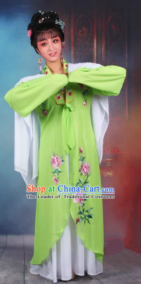 Traditional China Beijing Opera Young Lady Hua Tan Costume Princess Green Embroidered Cape, Ancient Chinese Peking Opera Diva Embroidery Dress Clothing