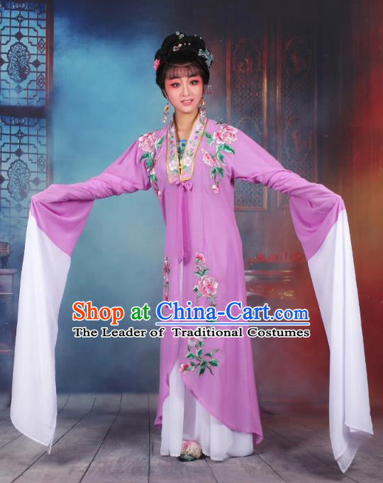Traditional China Beijing Opera Young Lady Hua Tan Costume Princess Purple Embroidered Cape, Ancient Chinese Peking Opera Diva Embroidery Dress Clothing