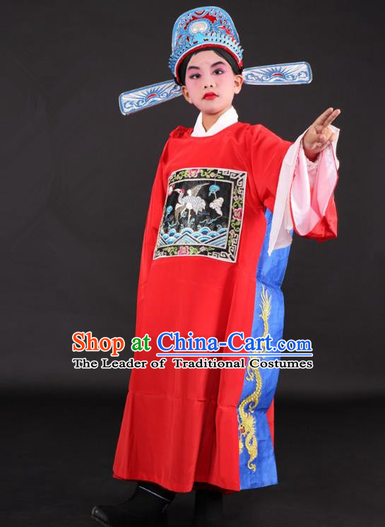 Traditional China Beijing Opera Niche Costume Lang Scholar Embroidered Robe and Hat, Ancient Chinese Peking Opera Embroidery Gwanbok for Kids