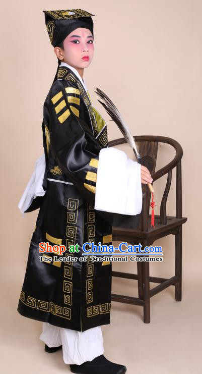 Traditional China Beijing Opera Zhuge Liang Costume Taoist Black Embroidered Robe and Headwear, Ancient Chinese Peking Opera Taoism Embroidery Gossip Clothing for Kids