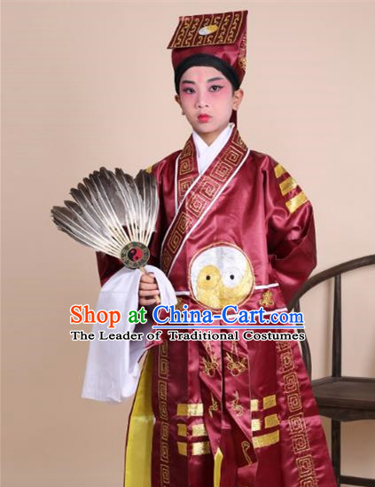 Traditional China Beijing Opera Zhuge Liang Costume Taoist Amaranth Embroidered Robe and Headwear, Ancient Chinese Peking Opera Taoism Embroidery Gossip Clothing for Kids
