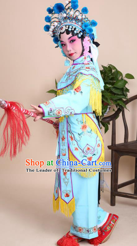 Traditional China Beijing Opera Swordplay Costume Female Warriors Blue Embroidered Robe with Cloak, Ancient Chinese Peking Opera Blues Embroidery Clothing for Kids