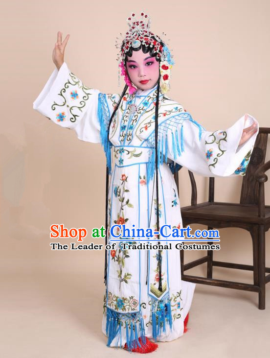 Traditional China Beijing Opera Costume White Embroidered Dress and Headwear, Ancient Chinese Peking Opera Diva Hua Tan Embroidery Clothing for Kids