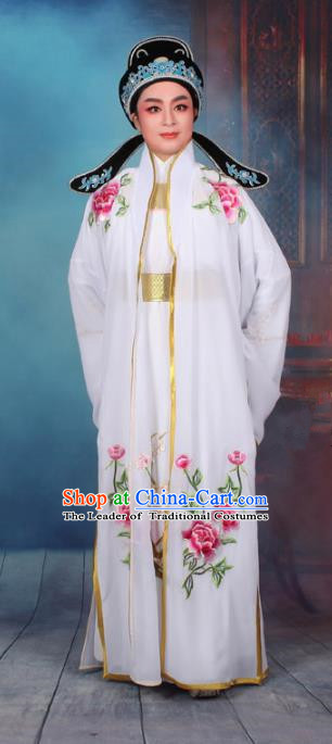 Top Grade Professional Beijing Opera Niche Costume Scholar White Embroidered Cape, Traditional Ancient Chinese Peking Opera Embroidery Young Men Clothing