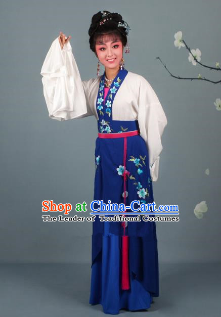 Traditional China Beijing Opera Young Lady Hua Tan Costume Princess Navy Embroidered Dress, Ancient Chinese Peking Opera Diva Embroidery Peach Blossom Clothing