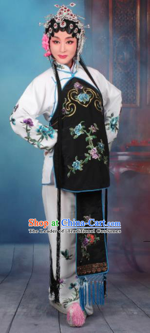 Top Grade Professional Beijing Opera Young Lady Costume Servant Girl White Embroidered Clothing, Traditional Ancient Chinese Peking Opera Maidservants Embroidery Clothing