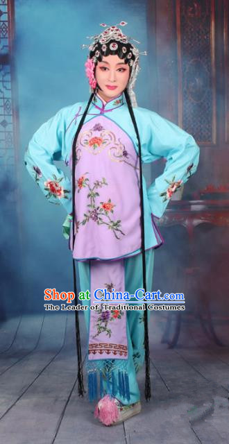 Top Grade Professional Beijing Opera Young Lady Costume Servant Girl Light Blue Embroidered Clothing, Traditional Ancient Chinese Peking Opera Maidservants Embroidery Clothing