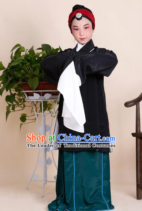 Traditional China Beijing Opera Old Women Costume, Ancient Chinese Peking Opera Pantaloon Black Dress Clothing for Kids