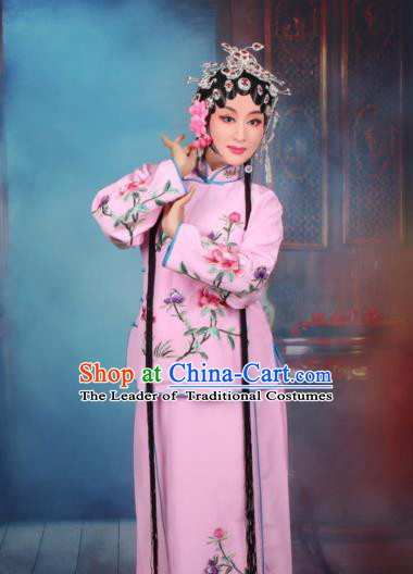 Top Grade Professional Beijing Opera Young Lady Costume Servant Girl Pink Embroidered Dress, Traditional Ancient Chinese Peking Opera Maidservants Embroidery Peony Clothing