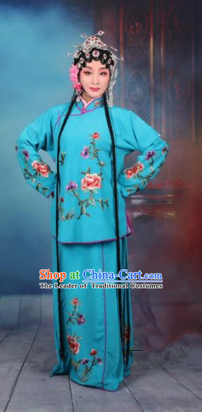 Top Grade Professional Beijing Opera Young Lady Costume Servant Girl Deep Blue Embroidered Dress, Traditional Ancient Chinese Peking Opera Maidservants Embroidery Peony Clothing