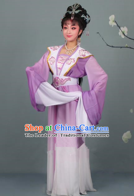 Top Grade Professional Beijing Opera Palace Lady Costume Hua Tan Purple Embroidered Clothing, Traditional Ancient Chinese Peking Opera Diva Embroidery Clothing