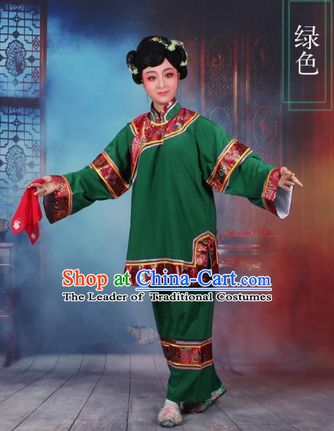 Traditional China Beijing Opera Old Women Costume Matchmaker Embroidered Green Clothing, Ancient Chinese Peking Opera Pantaloon Clothing