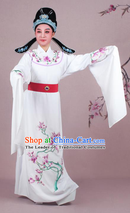 Traditional China Beijing Opera Niche Costume White Embroidered Robe and Headwear, Ancient Chinese Peking Opera Embroidery Mangnolia Lang Scholar Clothing
