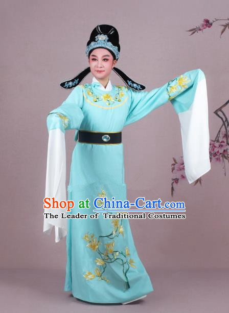 Traditional China Beijing Opera Niche Costume Blue Embroidered Robe and Headwear, Ancient Chinese Peking Opera Embroidery Mangnolia Lang Scholar Clothing