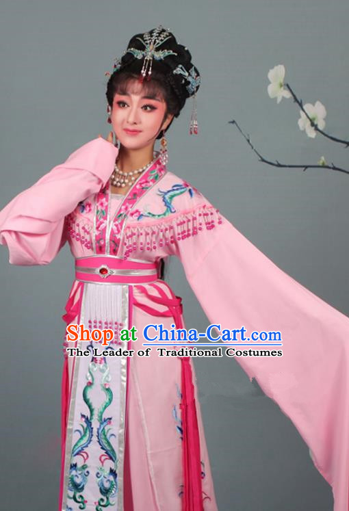 Top Grade Professional Beijing Opera Palace Lady Costume Hua Tan Pink Embroidered Dress, Traditional Ancient Chinese Peking Opera Diva Embroidery Phoenix Clothing