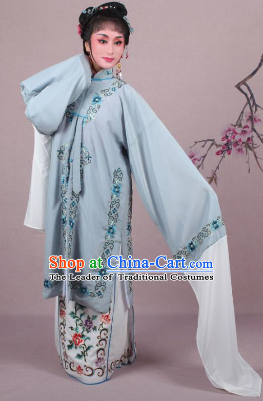 Top Grade Professional Beijing Opera Female Role Costume Grey Embroidered Cape, Traditional Ancient Chinese Peking Opera Diva Embroidery Clothing