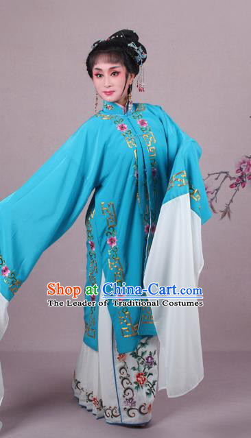 Top Grade Professional Beijing Opera Female Role Costume Blue Embroidered Cape, Traditional Ancient Chinese Peking Opera Diva Embroidery Clothing