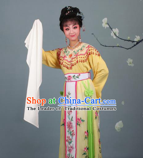Top Grade Professional Beijing Opera Palace Lady Costume Hua Tan Yellow Embroidered Dress, Traditional Ancient Chinese Peking Opera Diva Embroidery Peony Clothing