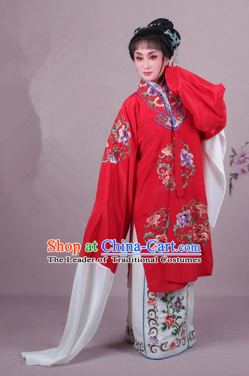 Top Grade Professional Beijing Opera Nobility Lady Costume Princess Red Embroidered Cape, Traditional Ancient Chinese Peking Opera Diva Embroidery Clothing